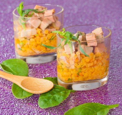 salade de lentilles corail et foie gras instants ap ritifs. Black Bedroom Furniture Sets. Home Design Ideas
